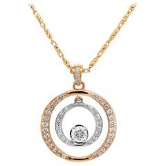 14K Yellow White Gold Diamonds 0.40 Carat Center Circle Pendant Chain Necklace