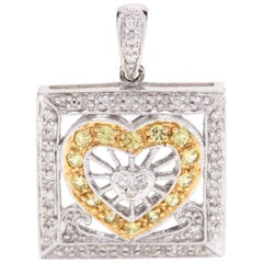 14k Yellow White Gold Rectangular Diamond- Yellow Sapphire Heart Charm, Pendant