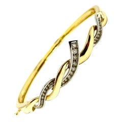 14 Karat Yellow White Gold Two-Tone .49 Carat Diamond Bangle Bracelet