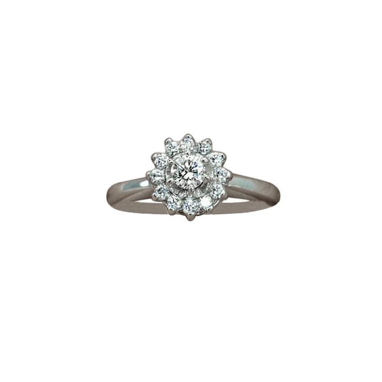14 Karat Diamond Halo Ring