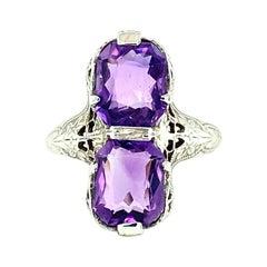 14kt Art Deco Amethyst Filigree Toi et Moi Ring