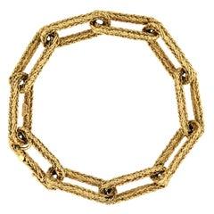 14kt Braided-Texture Paperclip Link Bracelet