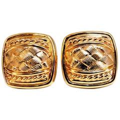 14 Karat Cross Hatch and Rope Twist Deco Clip Earrings