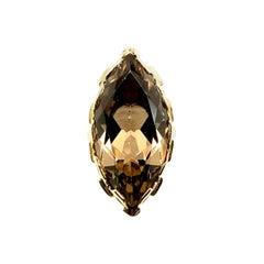 14kt Gold Chain Link 17.30 Carat Smoky Quartz Ring