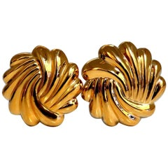 14 Karat Gold Circular Endless Shell Clip Earrings