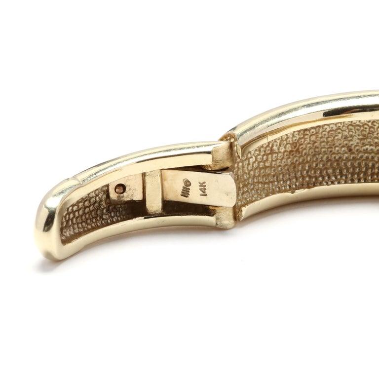 Women's or Men's 14 Karat Gold and Diamond Cuff Bracelet For Sale