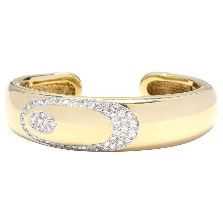 14 Karat Gold and Diamond Cuff Bracelet For Sale