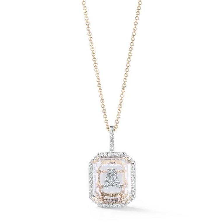 Emerald Cut 14 Karat Gold Diamond Frame Crystal Quartz Secret Diamond Initial Necklace For Sale