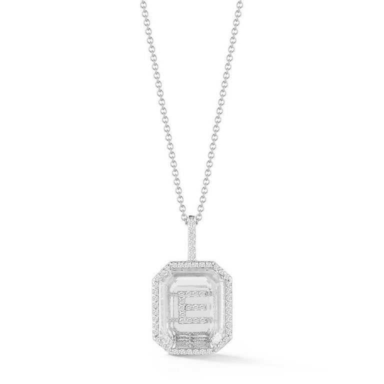 14 Karat Gold Diamond Frame Crystal Quartz Secret Diamond Initial Necklace In New Condition For Sale In Houston, TX