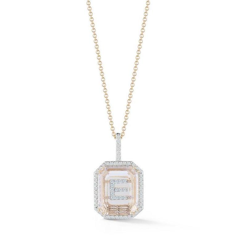14 Karat Gold Diamond Frame Crystal Quartz Secret Diamond Initial Necklace In New Condition For Sale In Houston, TX