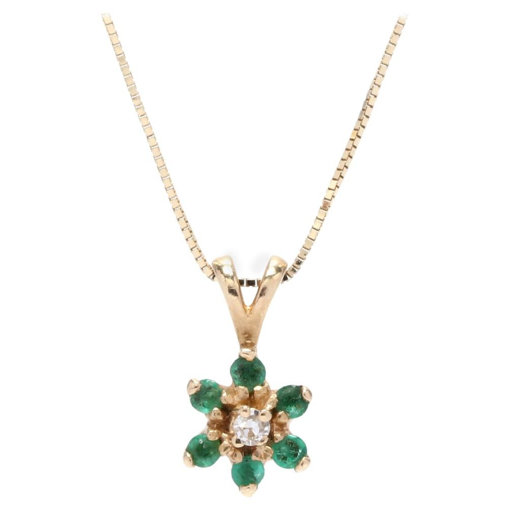 14KT Gold, Emerald and Diamond Flower Pendant Necklace
