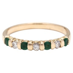 14kt Gold, Emerald & Diamond Stackable Band Ring