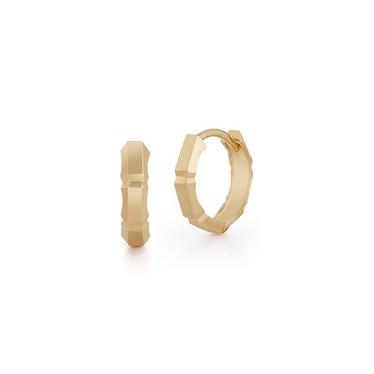 14 Karat Gold Faceted Huggies In New Condition For Sale In Houston, TX
