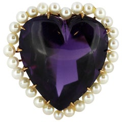 14kt gold heart shaped amethyst brooch with pearls, Circa 1950's