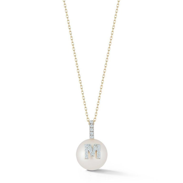 Ball Cut 14 Karat Gold Initial Pearl Necklace For Sale