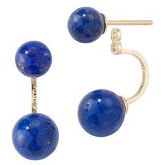 14kt Gold Lapis Ear Jacket Earrings