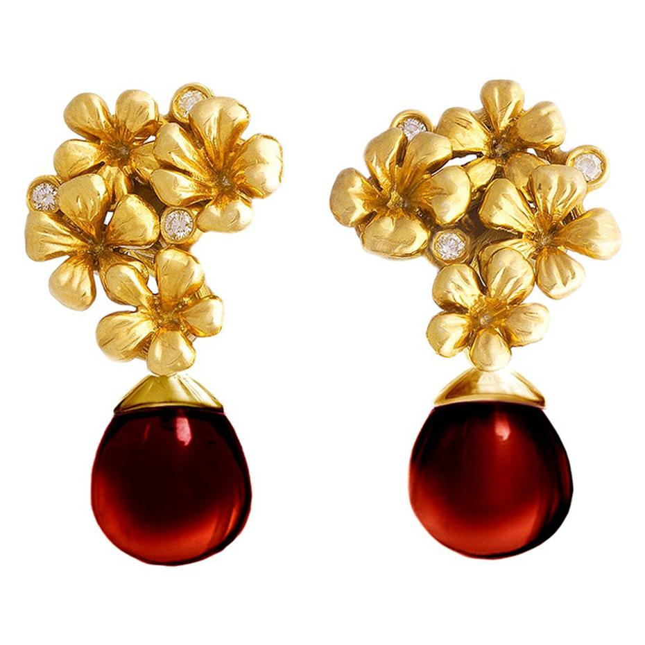 14kt Gold Plum Flowers Contemporary Earrings with Diamonds and Garnet