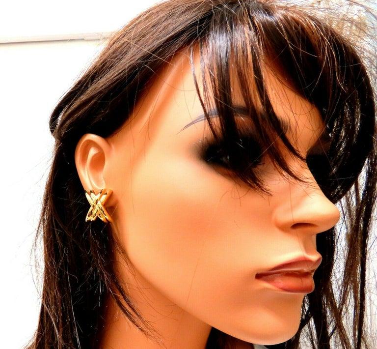 Women's or Men's 14 Karat Gold Raised X Clip Earrings For Sale