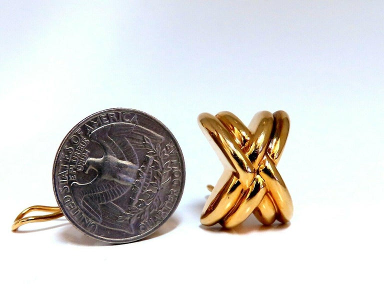 14 Karat Gold Raised X Clip Earrings For Sale 1