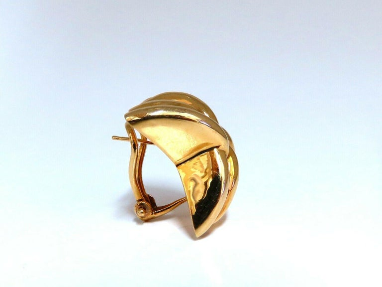14 Karat Gold Raised X Clip Earrings For Sale 2