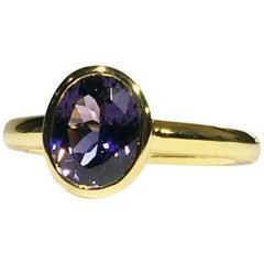 14 Karat Gold Ring Set with Purple Spinel