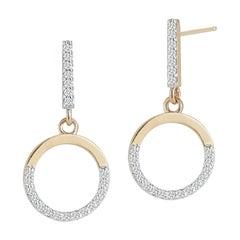 14kt Gold Small Halfmoon Drop Earring