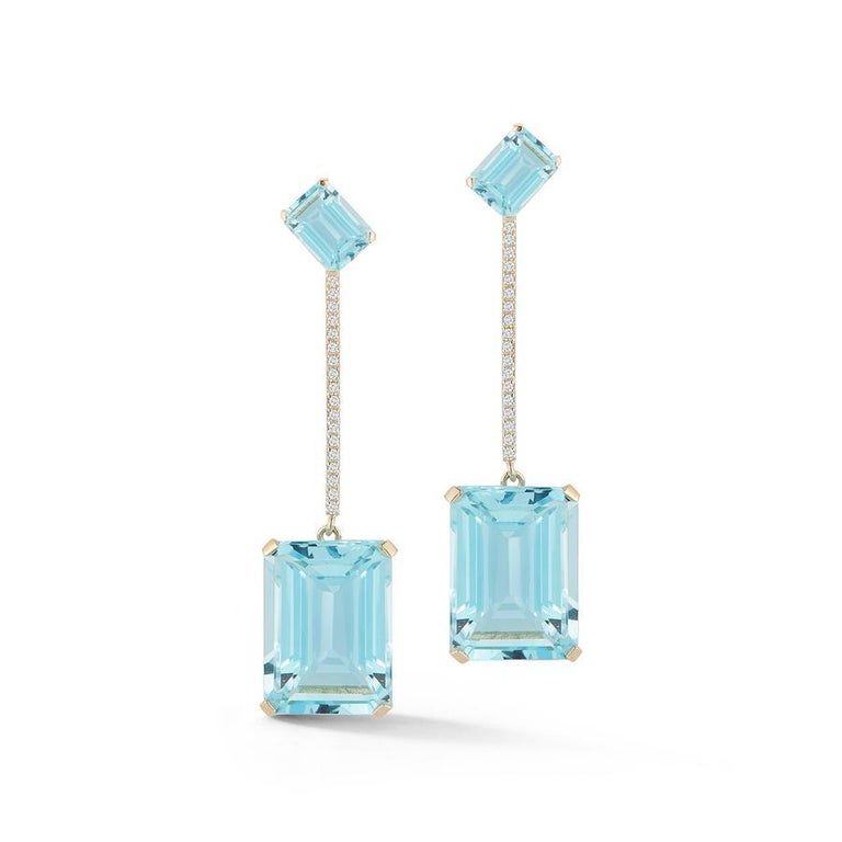 Emerald Cut 14 Karat Gold Something Blue Earrings For Sale