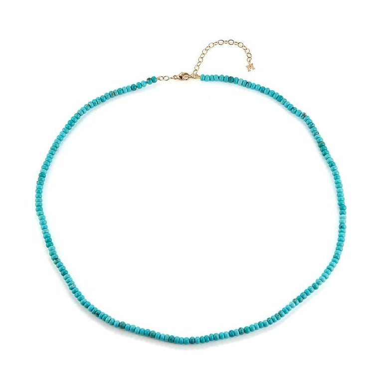 Beautifully made in New York with 14k yellow gold and vibrant turquoise.  This is the perfect way to spice up a summer sandal or your favorite pearl of heels.