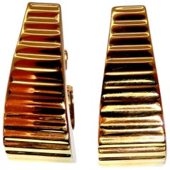 14 Karat Gold Wave Textured Semi Hoop Clip Earrings and Omega