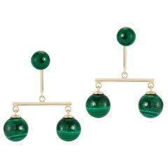 14kt Malachite Balance Mobile Earrings