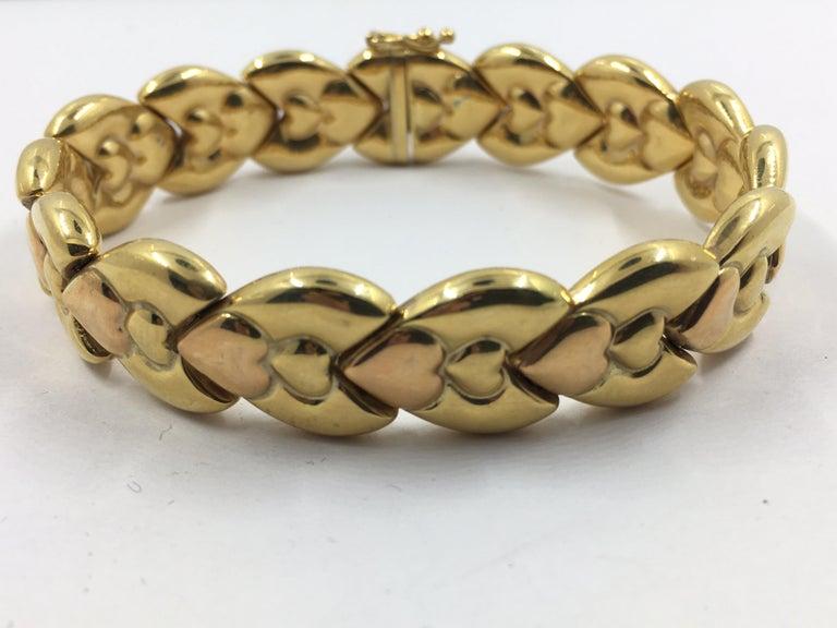 Art Nouveau 14 Karat Pink and Yellow Gold Bracelet For Sale