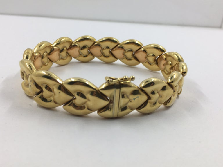 14 Karat Pink and Yellow Gold Bracelet In New Condition For Sale In Wilmington, DE