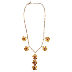 14kt Pink & Yellow Gold Floral Necklace Set with Citrene and Ruby
