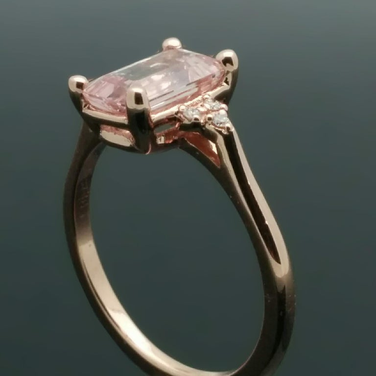 Women's 14 Karat Rose Gold Pink Sapphire and Diamond Ring For Sale