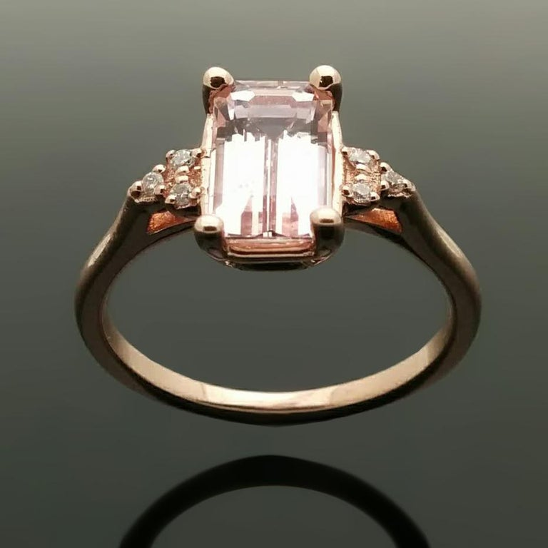 14 Karat Rose Gold Pink Sapphire and Diamond Ring For Sale 1