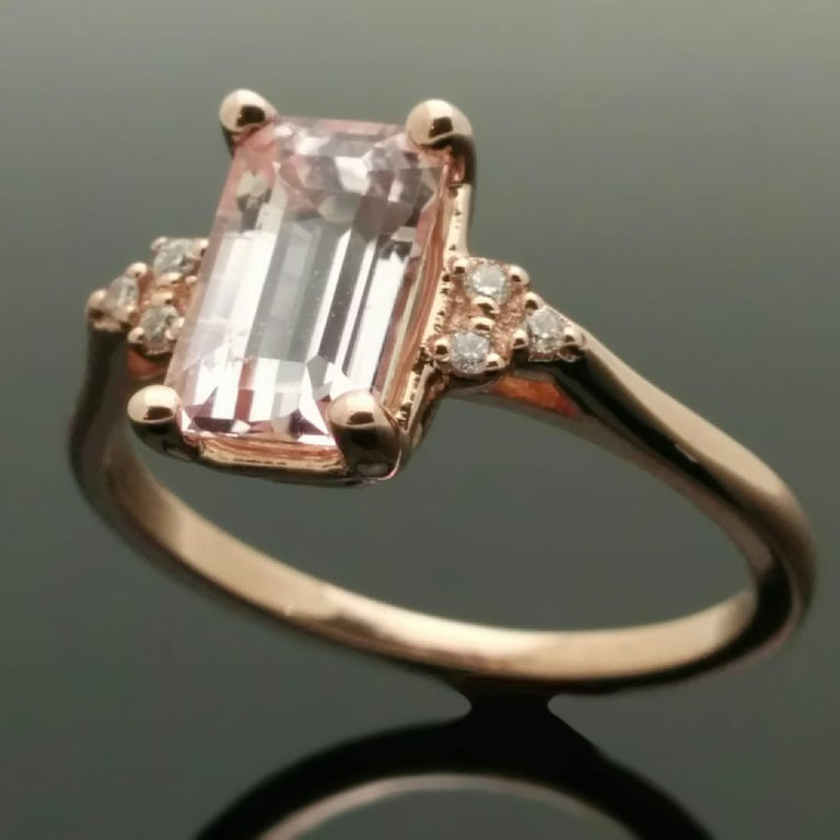 14 Karat Rose Gold Pink Sapphire and Diamond Ring For Sale 2