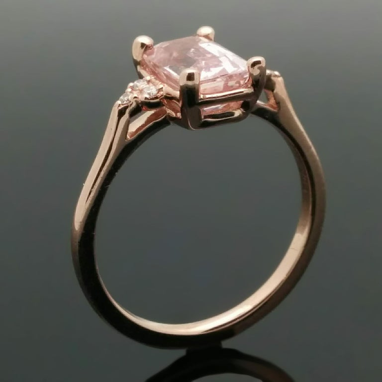 14 Karat Rose Gold Pink Sapphire and Diamond Ring For Sale 3