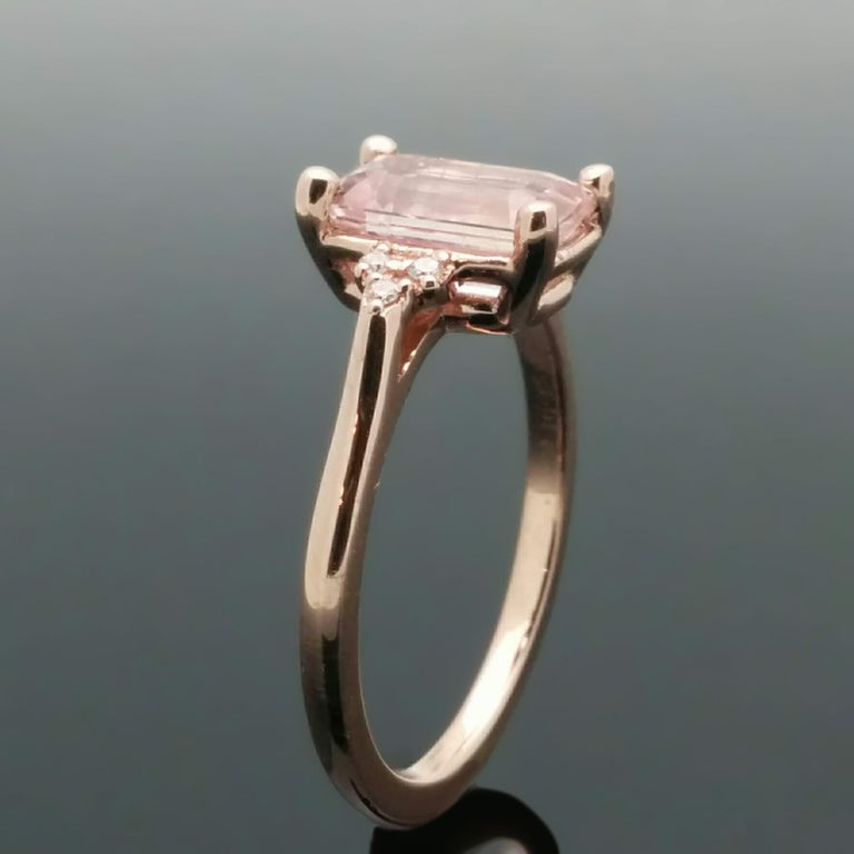 14 Karat Rose Gold Pink Sapphire and Diamond Ring For Sale 4