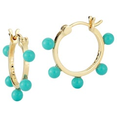 14kt Small Turquoise Dot Hoops