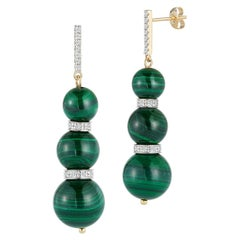14kt Three Malachite Ball Drop Earrings
