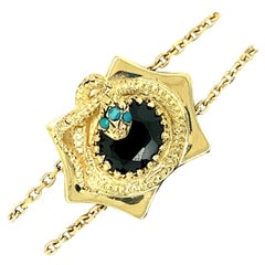 14kt Turquoise and Onyx Snake Slide Bracelet
