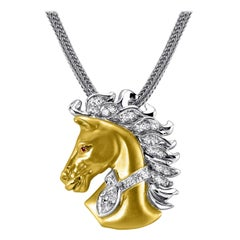 14kt Two-Tone 1.00ct Marquis Cut Diamond Horse Pendant by Rock N Gold Creations