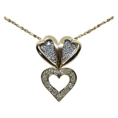 14kt Two Tone Gold .35cttw Diamond Double Heart Pendant with Chain