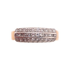 14 Karat Two-Toned Gold Ring with Diamonds, Wedding Band
