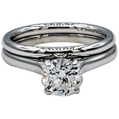 14kt White Gold 1.03ct Round Brilliant Diamond Wedding Set, GIA Certified, F VS2