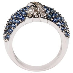 14Kt White Gold 2.45 Ct Blue Sapphire 0.14 Ct Diamond Bridal Cross Band Ring