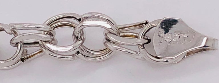 14 Karat White Gold Link Bracelet For Sale 1
