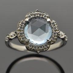 14kt White Gold Aquamarine and Diamonds Ring