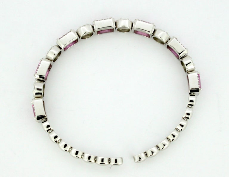 14 Karat White Gold Bangle with Natural Pink Sapphires and Diamonds For Sale 6