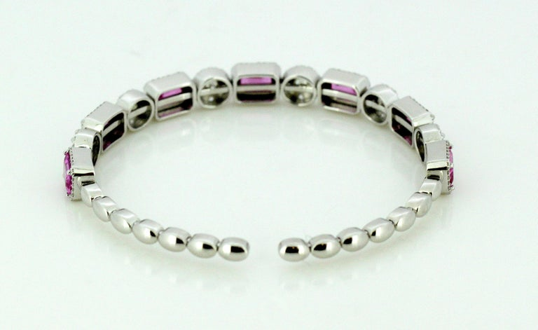 14 Karat White Gold Bangle with Natural Pink Sapphires and Diamonds For Sale 1